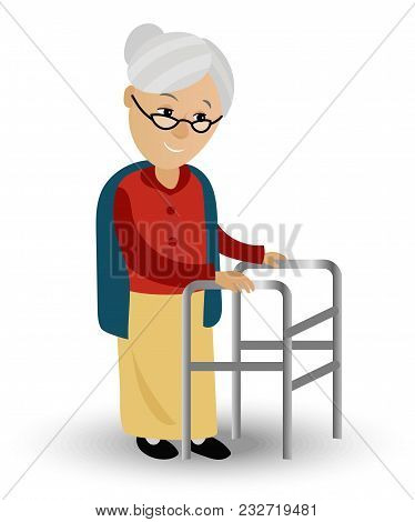 Elderly Woman On A Walker Needs Medical Care. May Illustrate Topics Related To Old Age, The Medical