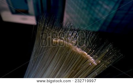 fiber optic showing data or internet communication concept