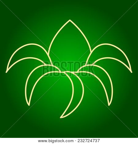 Icons Of Tamarind. Holiday Ugadi. Fine Lines. Neon Icon. Neon Sign. Effect Of Neon Glow. Vector Imag