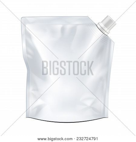 Blank Food Doypack Flexible Pouch Bag With Corner Spout Lid. Mock Up, Template. Illustration Isolate