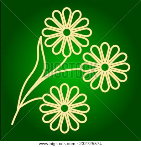 Icons Of Flowers Of A Tree By Him. Holiday Ugadi. Fine Lines. Neon Icon. Neon Sign. Effect Of Neon G
