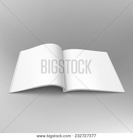 Blank Open Magazine, Book, Booklet, Brochure, Cover. Illustration On Gray Background. Mock Up Templa