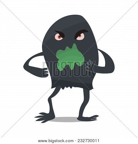 Scary Horrible Amusing Black Evil Monster Blotter Microbe Virus With Thin Legs And Hands, Green Mout