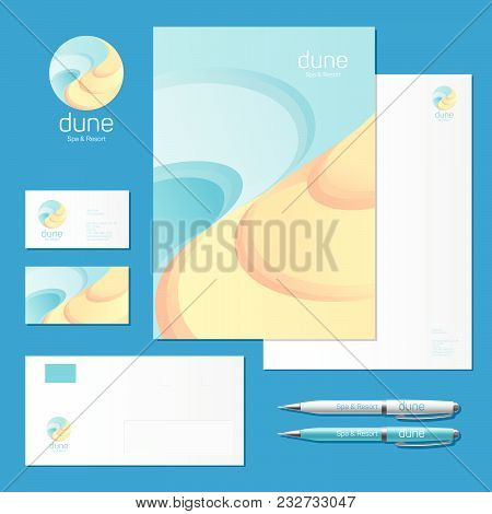Dune Spa &resort Logo. Sea And Sand Logo And Corporate Identity. Corporate Style, Envelope, Letterhe
