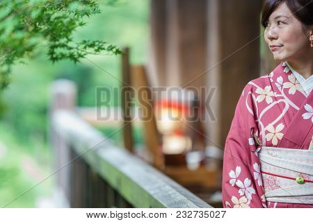 Kyoto, Japan - June 8: Unidentified Woman Dress In Traditional Clothes And Visit Japanese Kiyomizu-d