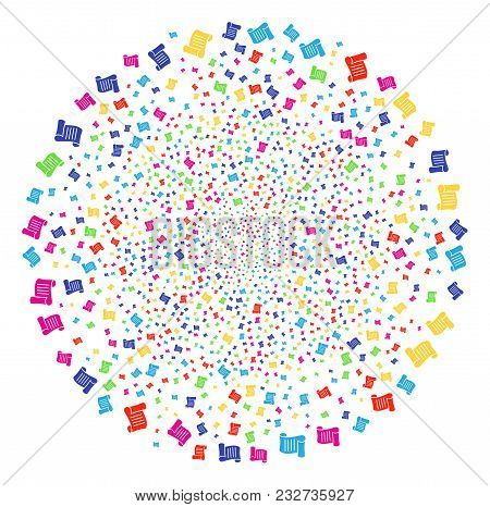 Colorful Script Roll Carnival Globula. Vector Round Cluster Explosion Combined From Randomized Scrip