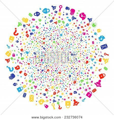 Colorful Secrecy Symbols Carnival Sphere. Vector Round Cluster Fireworks Combined By Scattered Secre