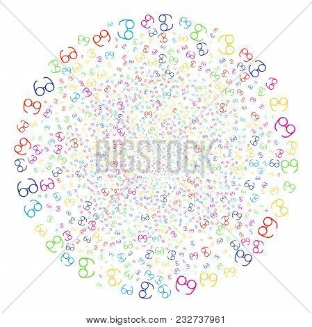 Multi Colored Spectacles Carnival Sphere. Vector Spheric Cluster Burst Combined With Randomized Spec