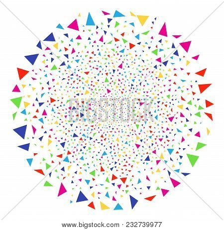 Colorful Triangle Figures Sparkler Sphere. Vector Sphere Fireworks Created By Scattered Triangle Fig