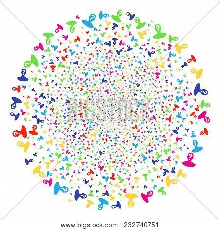 Colorful Unknown Person Festival Sphere. Vector Globula Salute Created By Scattered Unknown Person I