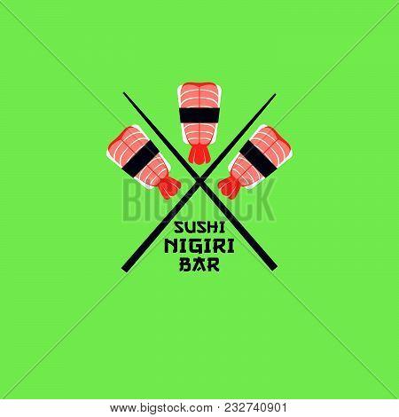 Sushi Logo. Sushi Restaurant Emblem. Sushi-nigiri With Shrimps On A Light Background.