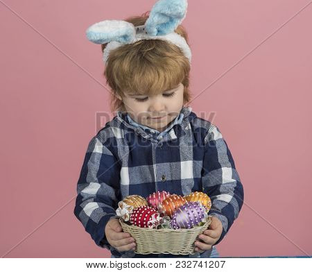 Child With Easter Basket. Toy Eggs In Basket. Family Holiday And Day Off, Play And Leisure For Child