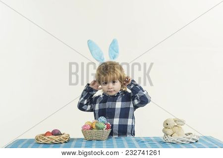 Rabbit Easter Child. Lovely Cute Boy With Rabbit Ears, Easter Concept. Baby Looks At Camera And Dres