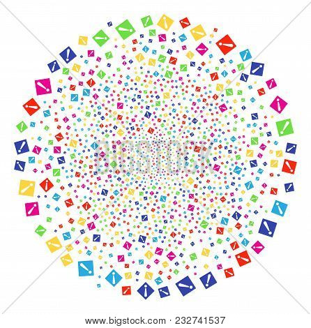 Colorful Warning Carnival Round Cluster. Vector Round Cluster Salute Done From Random Warning Object