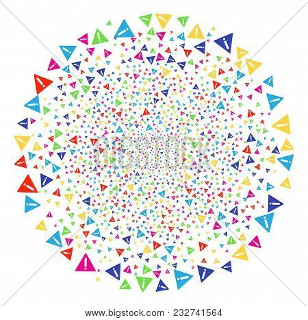 Multicolored Warning Carnival Round Cluster. Vector Round Cluster Salute Organized From Scattered Wa