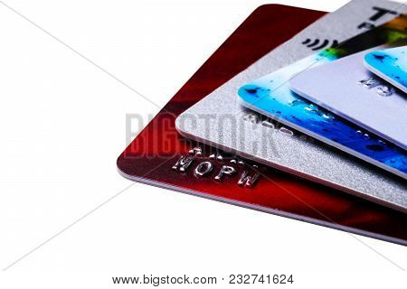 Close Up Credit Card Payment Isolated On White Background. Macro Shot Of Chip And Pin Debit Card. Cr