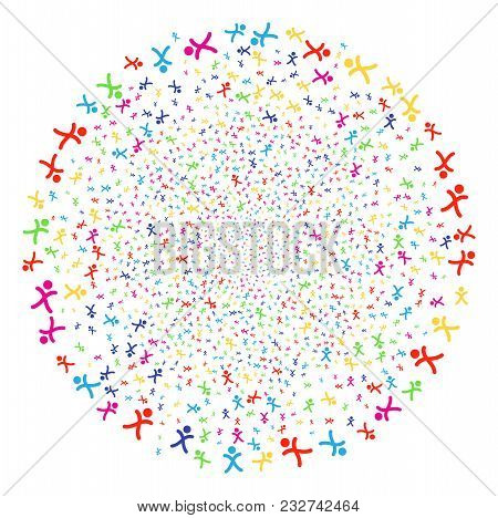 Multicolored X Generation Boy Sparkler Globula. Vector Cluster Salute Created By Scattered X Generat