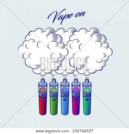 Vaporizer Graphic Illustration. Multi-colored Vaporizer With Clouds Of Steam On A White Background.