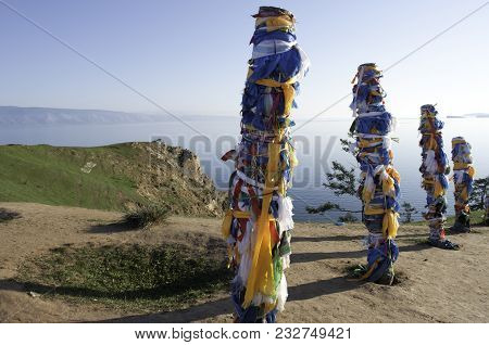 Tie Bars With Ribbons In Place Of Worship Of The God Burkhan, Cape Burkhan Of The Island Of Olkhon,