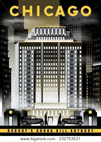 Night Life In Chicago In 1930s, Usa. Handmade Drawing Vector Illustration. Art Deco Style.