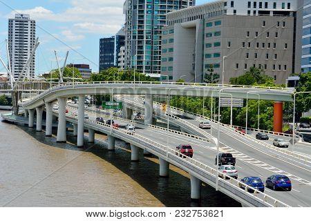 Brisbane, Queensland, Australia - January 6, 2018. View Of Pacific Motorway On River Waterfront In B
