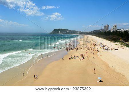 Burleigh Heads, Gold Coast, Queensland, Australia - January 14, 2018. View Over Burleigh Heads Beach