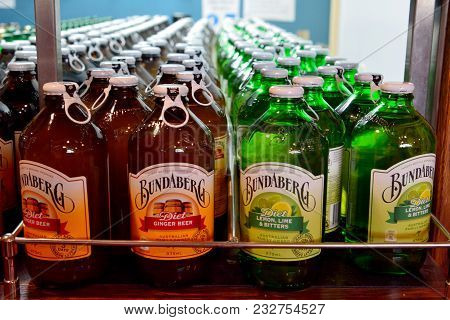 Bundaberg, Queensland, Australia - January 4, 2018. Bottles Of Bundaberg Root Beer In Refrigerator.