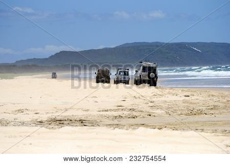 Great Sandy National Park, Queensland, Australia - December 19, 2017. Three 4wd Vehicles Driving On