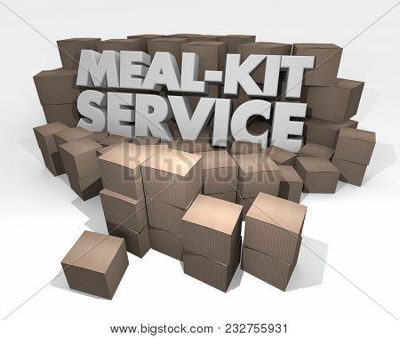 Meal-Kit Service Words Cardboard Boxes 3d Illustration
