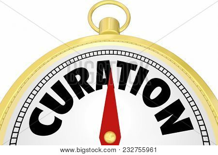 Curation Gold Compass Curate Content Word 3d Illustration