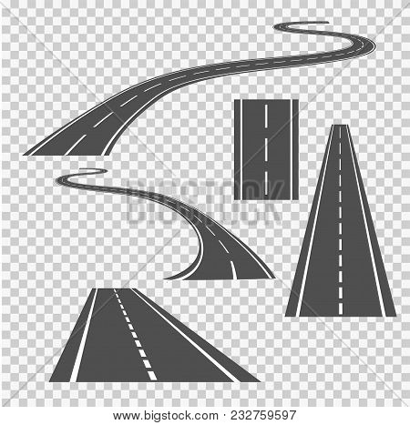 Winding Curved Road Direction Or Highway With Markings.vector Illustration