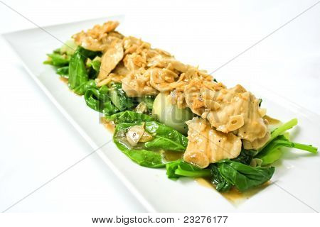 fried pork in oyster sauce with kale poster