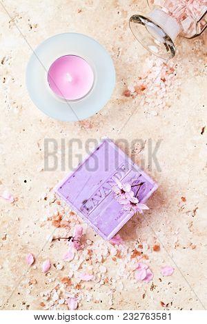 An arrangement of Lavender Soap, Bath Salt and Tea Light
