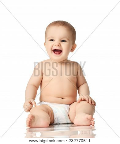 8 Month Infant Child Baby Boy Kid Toddler Sitting In Diaper Thinking Happy Laughing Isolated On A Wh