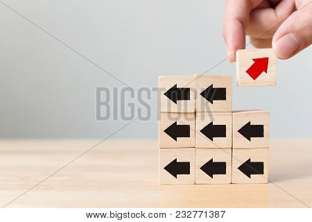 Hand Picked Wooden Block With Red Arrow Facing The Opposite Direction Black Arrows, Unique, Think Di
