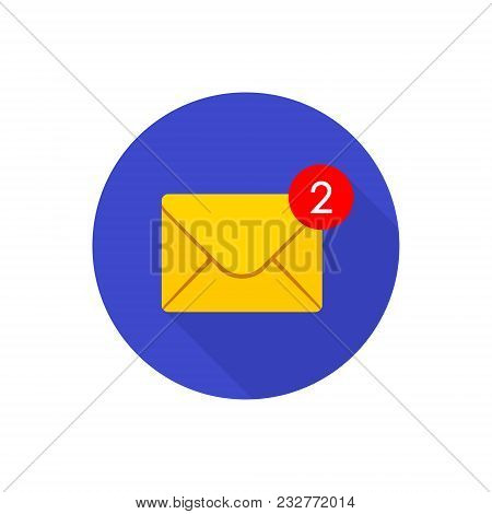 New Incoming Messages Icon With Notification In Circle. Envelope With Incoming Message. Vector Symbo