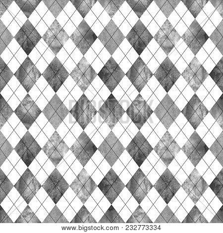 Argyle Seamless Plaid Pattern. Watercolor Hand Drawn Black Gray White Texture Background. Watercolou