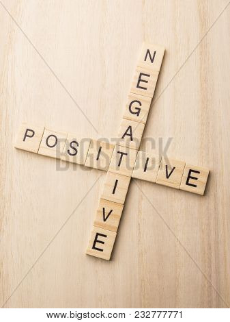 Attitude Thinking, Positive Or Negative - Word Abstract By Letters Block Wood Crossword On Wooden Ba