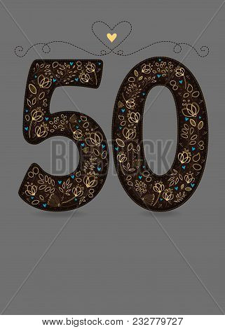 Brown Floral Number Fifty. Yellow Flowers And Plants With Drawing Effect And Small Blue Hearts. Gray