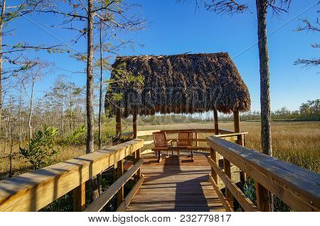 Tiki Hut Looking At The Swamps In Grassy Waters