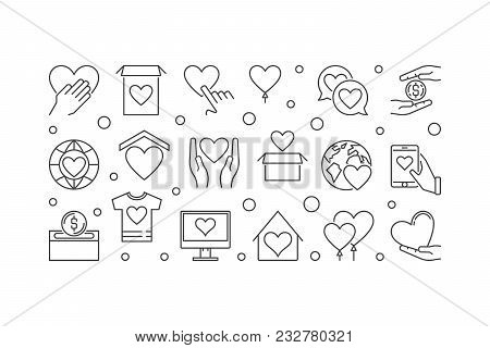 Fundraising And Charity Vector Concept Illustration Or Horizontal Banner In Thin Line Style On White