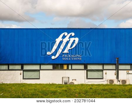 Northampton Uk March 16 2018: Ffp Packaging Solutions Logo Sign On Blue Warehouse Wall.