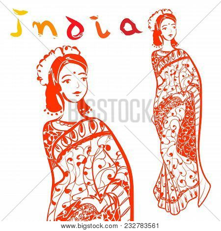 Hand Drawn India Style Illustration With Calligraphic Text. Vector Decorative Woman Dressed In Color