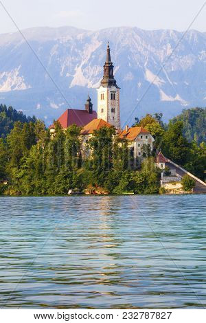 Bled, Slovenia. Island In The Middle Of The Lake With Church. Church Of St. Martin. Bled Is A Town O