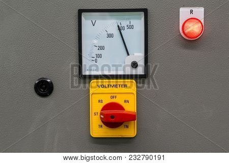 Voltmeter Display On Control Panel With Electrical Equipment Devices