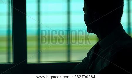 Pensive Man Having Cup Of Coffee In Waiting Room, Bored With Everyday Routine, Stock Footage