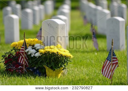 National flags ant headstones in Arlington National cemetery during Memorial Weekend - Washington DC United States