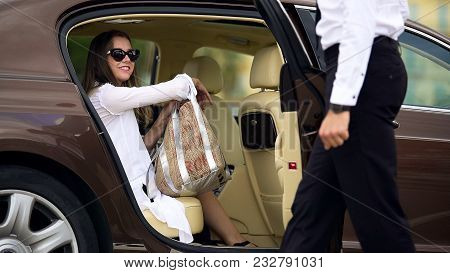 Luxury Taxi Service, Chauffeur Opening Car Door For Female Passenger, Travel, Stock Footage