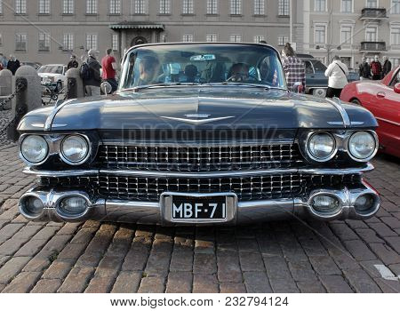 Helsinki, Finland - August 4, 2017: Old American Black Car At Helsinki Cruising Night (retro Cars Sh