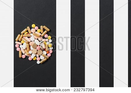 Medication White Colorful Round Tablets Arranged Abstract On White Black Background. Aspirin, Capsul